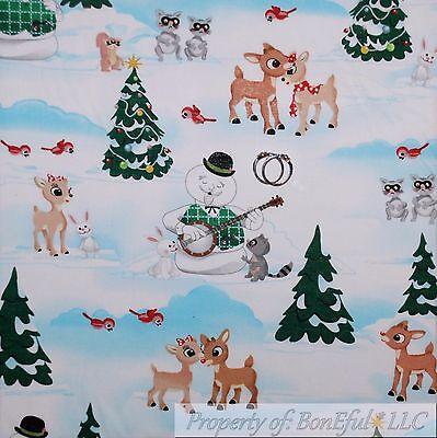 BonEful FABRIC FQ Cotton Quilt Scenic Xmas Tree Rudolph Reindeer Santa Snow*man
