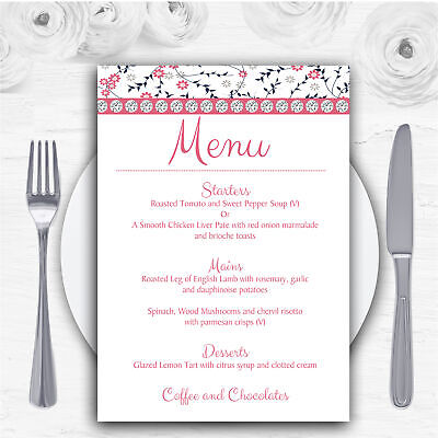 Dusty Coral Pink And Navy Blue Floral Personalised Wedding Menu - Pink And Navy Wedding