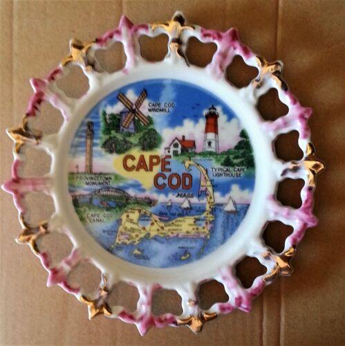 Vintage Cape Cod Mass Souvenir Plate 22k Gold Pink Reticulated Edge JAPAN