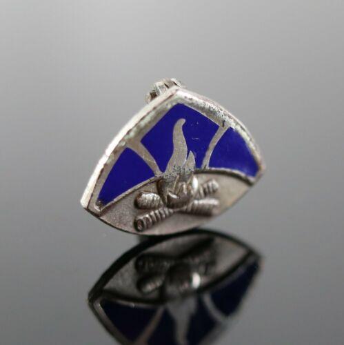 Vintage .925 Sterling Silver Blue Enamel Camp Fire Girls Brooch Lapel Pin 1.3g