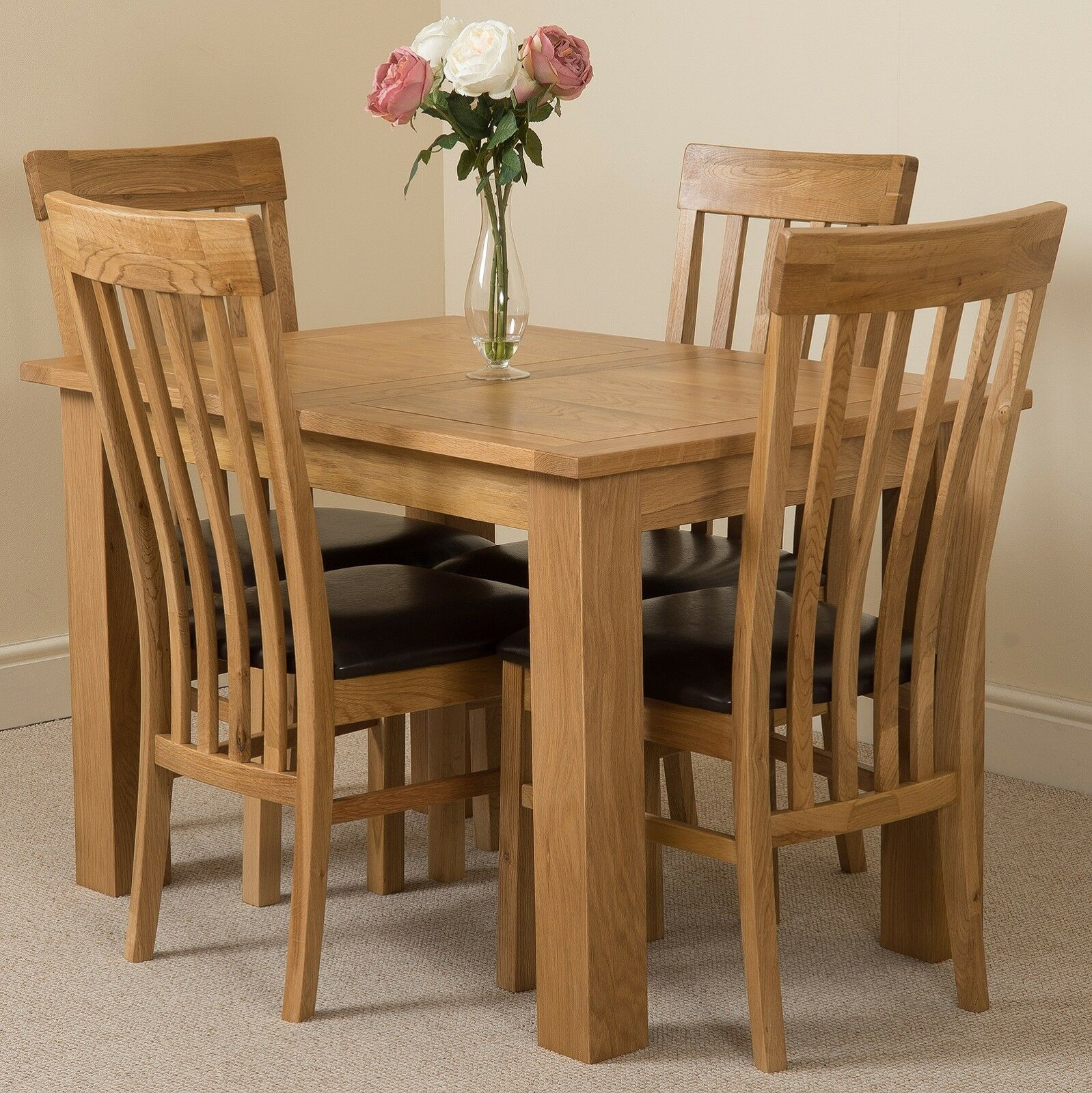 Hampton 120 160cm Extending Oak Dining Table With Harvard Oak Chairs Ebay