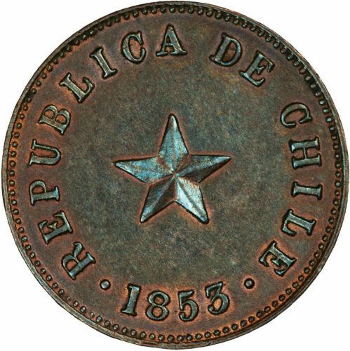1853 Chile 1/2 Centavo, AU. Natural blue toning. - 391
