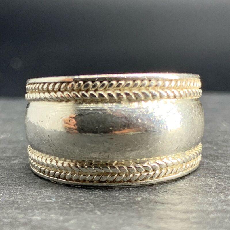 Vintage .925 Sterling Silver Ring Modernist Rope Edges Dome Size 6.5