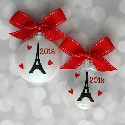Paris France Tower - Eiffel Tower Paris France 2018 Handcrafted Glitter Christmas Ornament
