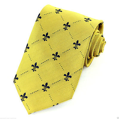 Fleur Di Lis Mens Neck Tie Mardi Gras Necktie Dress Fashion Gold Black Gift New