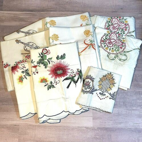 Lot of 9 Vintage Embroidered Linens Shams Pillowcases Cutter Craft Repurpose