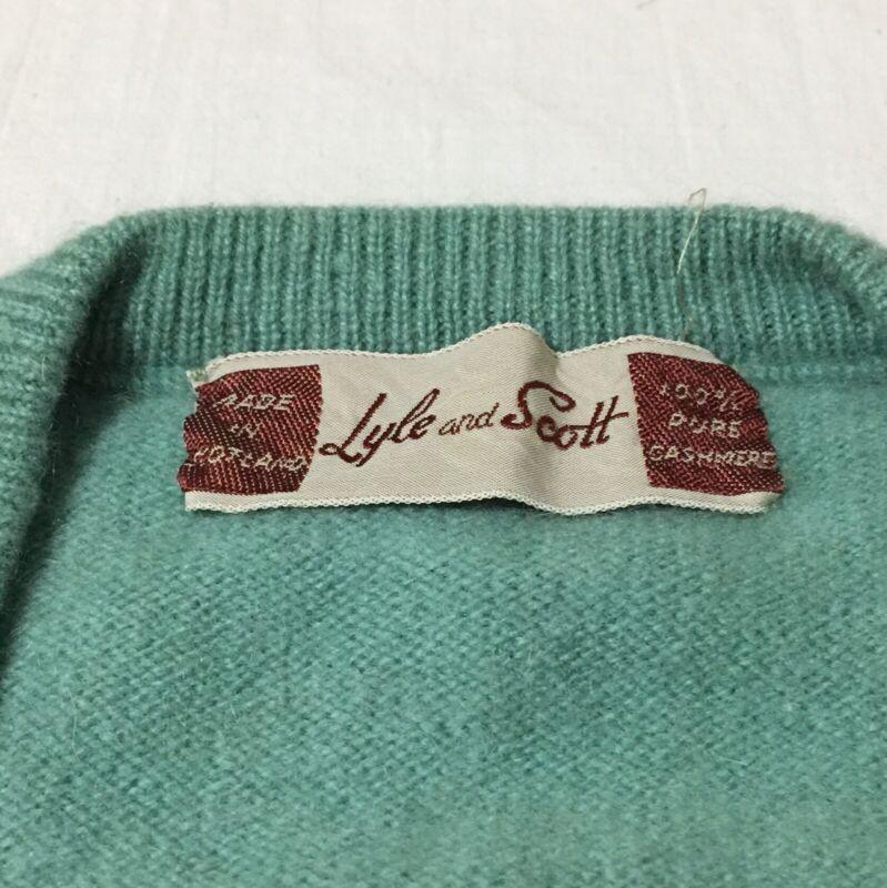 Vintage Lyle & Scott Cashmere Sweater Vest V Neck Blue-green Dusty Teal Seafoam