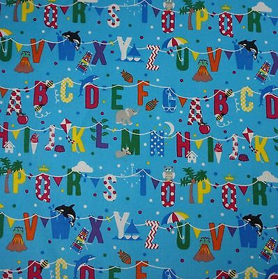 Mid Blue 100% Cotton Fabric with Colourful Alphabet Bunting (Per Metre)](Blue Bunting Fabric)