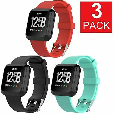 3 PACK Fitbit Versa Silicone Replacement Band Sport Fitness Yoga Wristband Fit Tech Parts