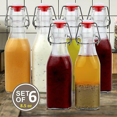 Estilo Swing Top Easy Cap Clear Glass Bottles, Square, 8.5 oz, Set of 6