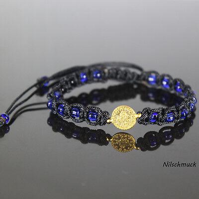Damen 4mm Royalblau Glasperlen Armband/Armschmuck mit Gold Münze für Frauen ()