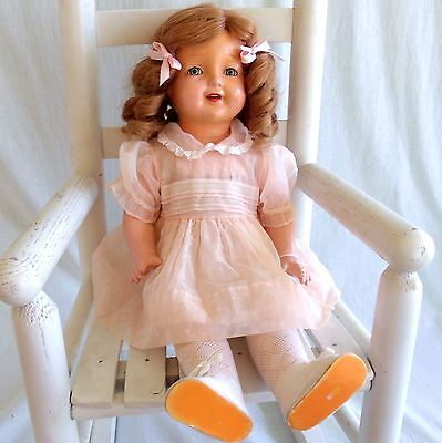 """Antique 22"""" American Character Petite Composition Doll Open mouth Teeth Sleepeye"""