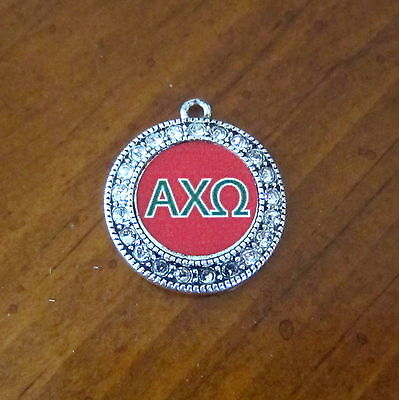 ALPHA CHI OMEGA CRYSTAL PEWTER Greek letter CHARM Sorority bead bracelet jewelry