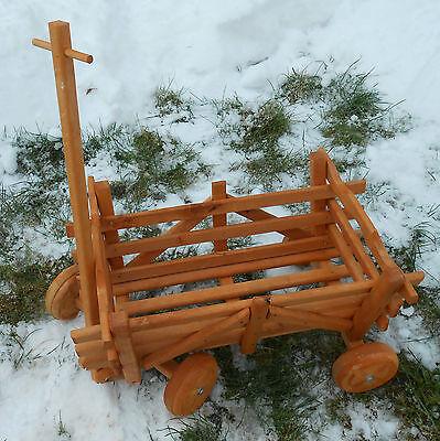 Großer Leiterwagen fahrbar aus Massiv Holz Bollerwagen Pflanzkasten Puppenwagen