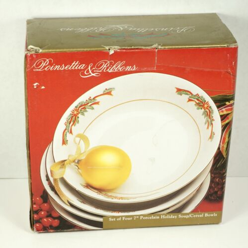 "Vintage Poinsettia & Ribbons Set of 4 7"" inch Porcelain Holiday Bowls In Box"
