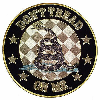 Large Dont Tread On Me Round Gadsden Snake Patriotic Embroidered Biker Patch