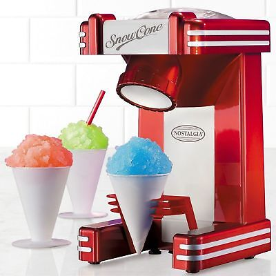New In Box Nostalgia Retro Series Red 50s Style Snow Cone Maker Rsm702 Ice Fun