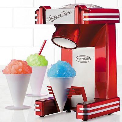 New In Box Nostalgia Retro Series Red 50s Style Snow Cone Maker Rsm702 Ice Fun