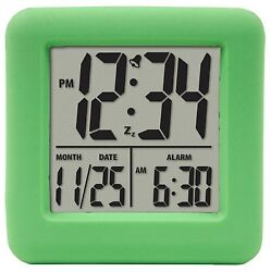 70903 Equity by La Crosse Soft Cube LCD Digital Alarm Clock - Green