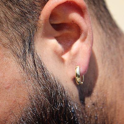 10mm 925 Sterling Silver Men's Gold Hoop Earrings