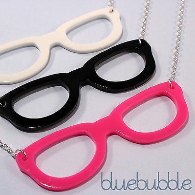 FUNKY GEEK GLASSES NECKLACE CUTE NERD FASHION KAWAII CHIC KITSCH EMO PENDANT (90s Nerd Glasses)