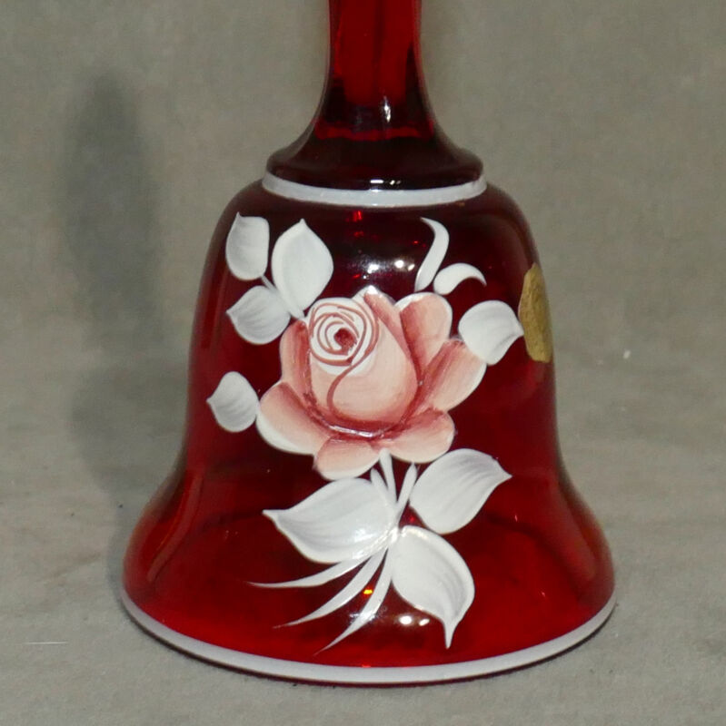 Bell Glass C. PELTIER WESTMORLAND Ruby Red w/ Rose Signed Tagged Art USA SELLER