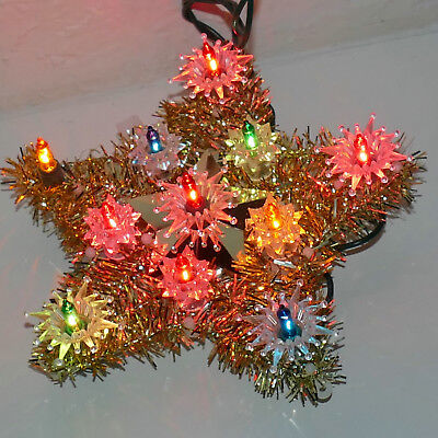 Christmas Tree Topper Star Lights UL Tested Small Multi Indoor Use Tinsel GOLD