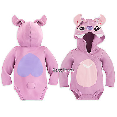 Angel Costume Store (Lilo & Stitch Angel Baby Bodysuit Costume Hood & 3D Ears Antenna Disney Store)
