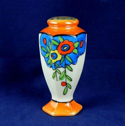 Vintage Lusterware Hexagon Shape Salt Shaker Orange Blue Floral Japan EUC