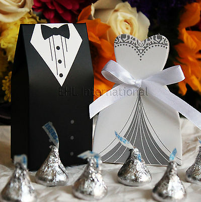 50/100/150 Wedding Favor Boxes Groom Bride Dress & Tuxedo Shower Party Style (Bridal Shower Favor Boxes)