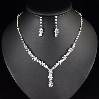 (Floral Clear Crystal Rhinestone Necklace Earring Set Bridal Prom Pageant N78)