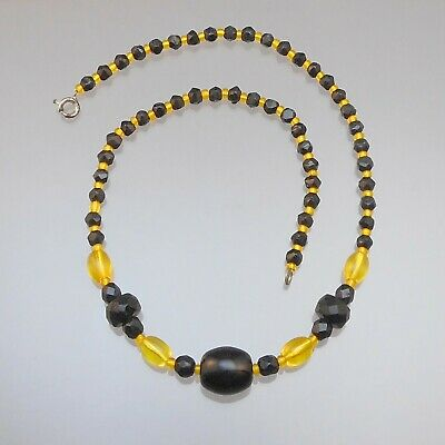 Antique Czech Glass Mardi Gras Bead Necklace Black Disc and Gold Yellow](Black And Gold Mardi Gras Beads)