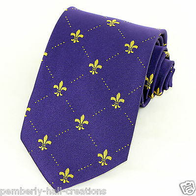 Fleur Di Lis Purple Gold Mens Necktie Mardi Gras Fashion Gift Dress Neck Tie New