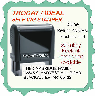 Return Address Aerial Font 10 Point Flushed Left Trodat 4913 Self-ink Stamp