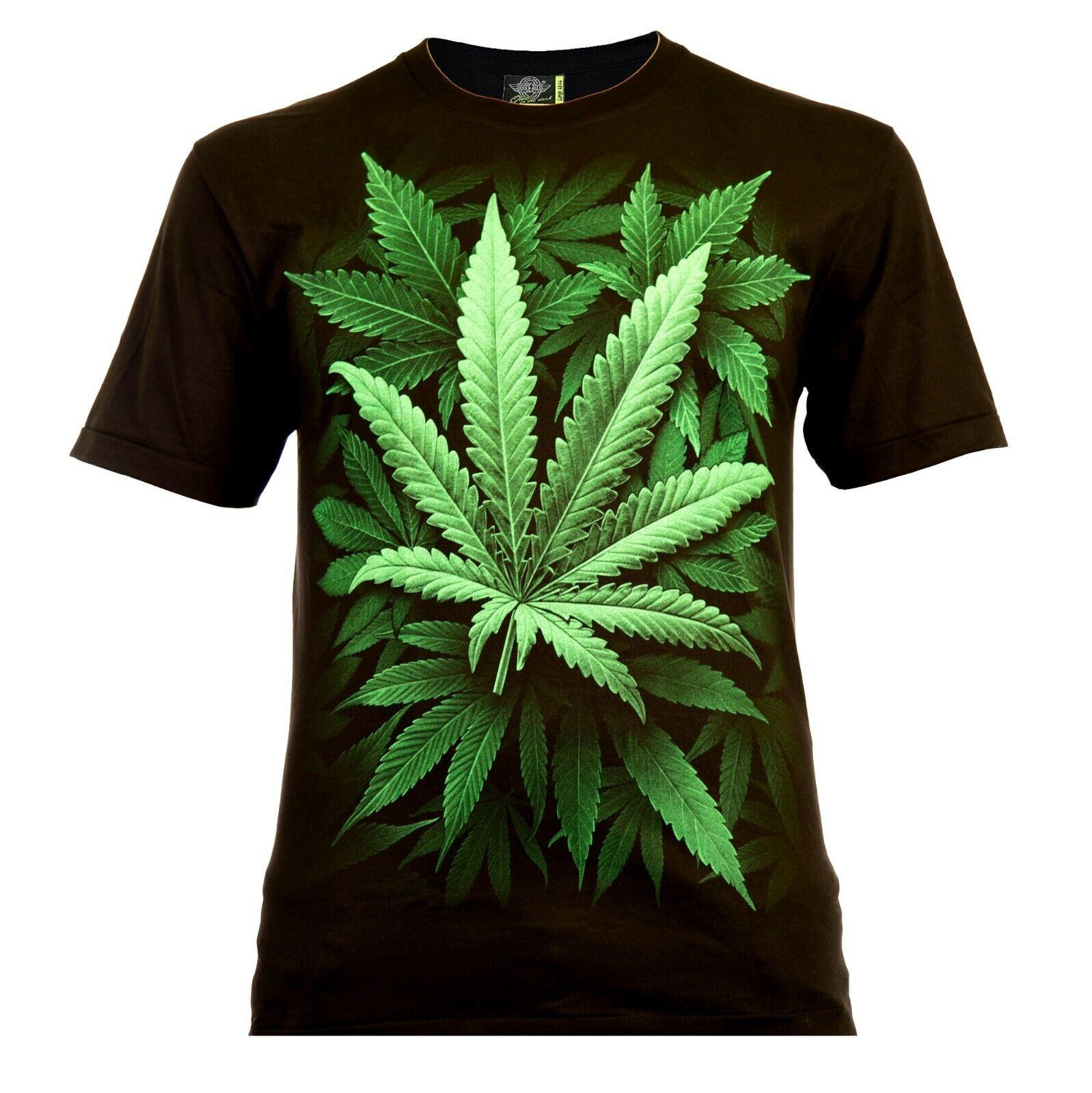 Rock Eagle Herren T-Shirt Schwarz Cannabis Leaf Ganja Weed Marijuana 420 THC