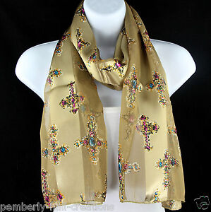 Jeweled Cross Women's Scarf Christian Religious Gift Church Gold Scarves New