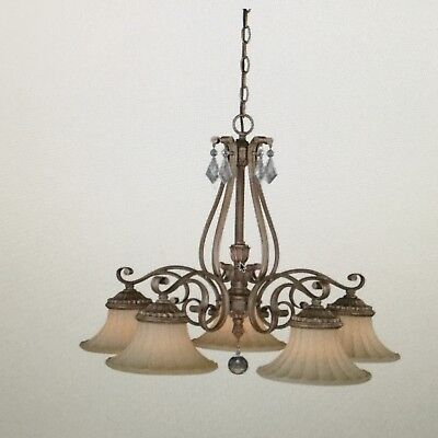 Vaxcel Lighting H0141 Avenant 5-Light Single Tier Chandelier with Glass Shades -