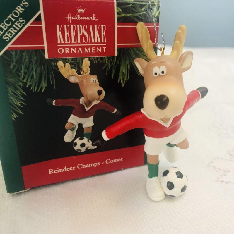 Vintage Hallmark Keepsake Christmas Ornament Reindeer Champs- Comet soccer