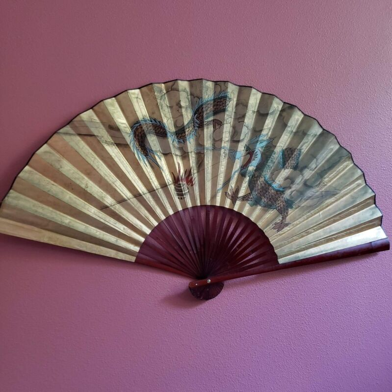 """Vintage Large Asian Hand Painted Dragons Fan Wall Art 35"""" × 62"""" Gold"""