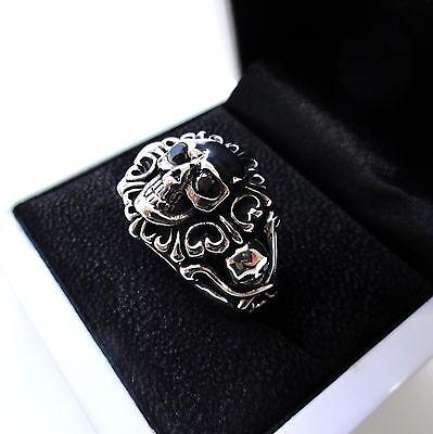 Mens Silver Black Diamond Skull Ring