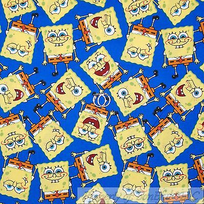 BonEful FABRIC FQ Cotton Quilt Blue Baby Nick Jr SPONGE BOB Character Smile - Baby Tv Characters