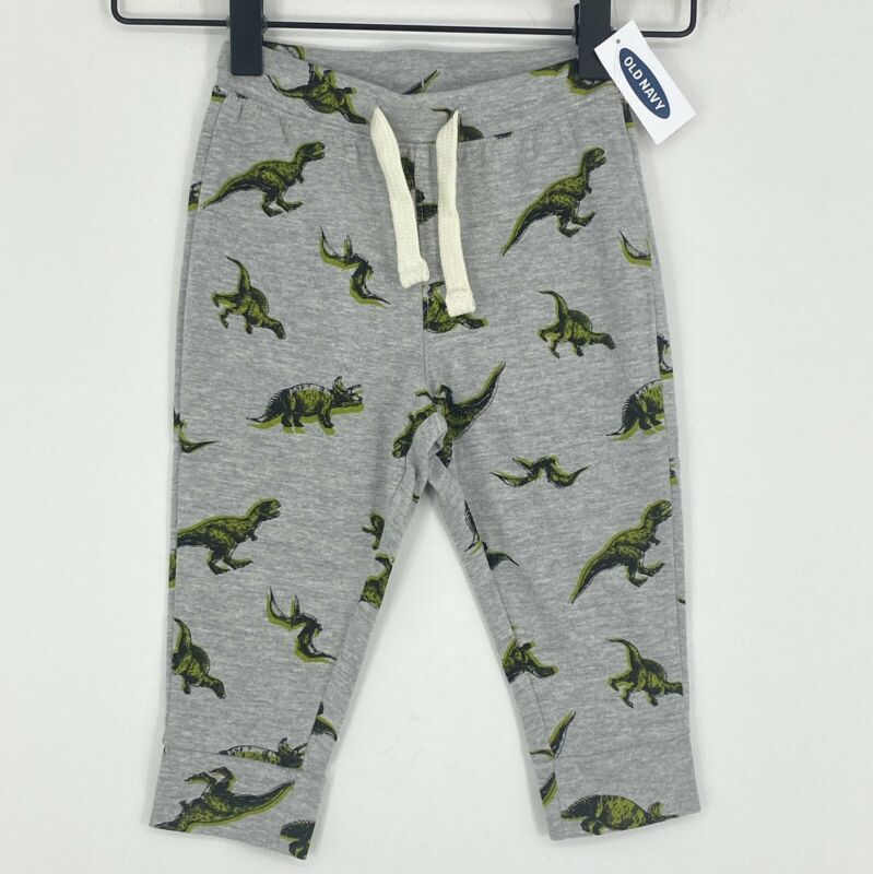 Old Navy Pants Baby Boy 12-18 Months Gray Dinosaur Drawstring