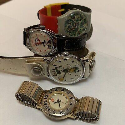 4 Piece Lot of Watches Swatch Swiss, Disney Minnie Mouse, Hopalong Cassidy, McDo