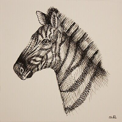 Original Artwork by Sungy Drawing Zebra Wildlife Pen