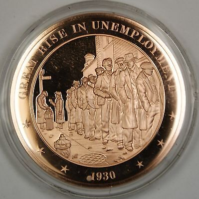 Bronze Proof Medal Great Rise In Unemployment 1930