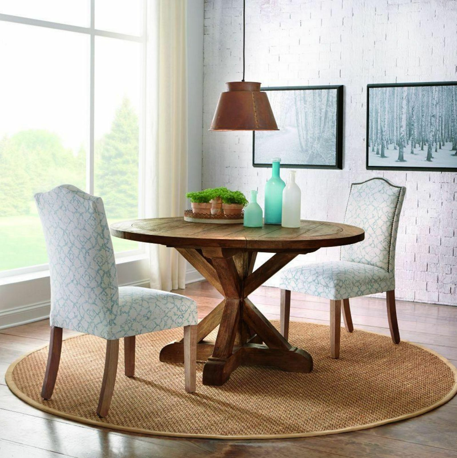 Cane Rustic Round Wood Dining Room Table Bark Kitchen Furnit