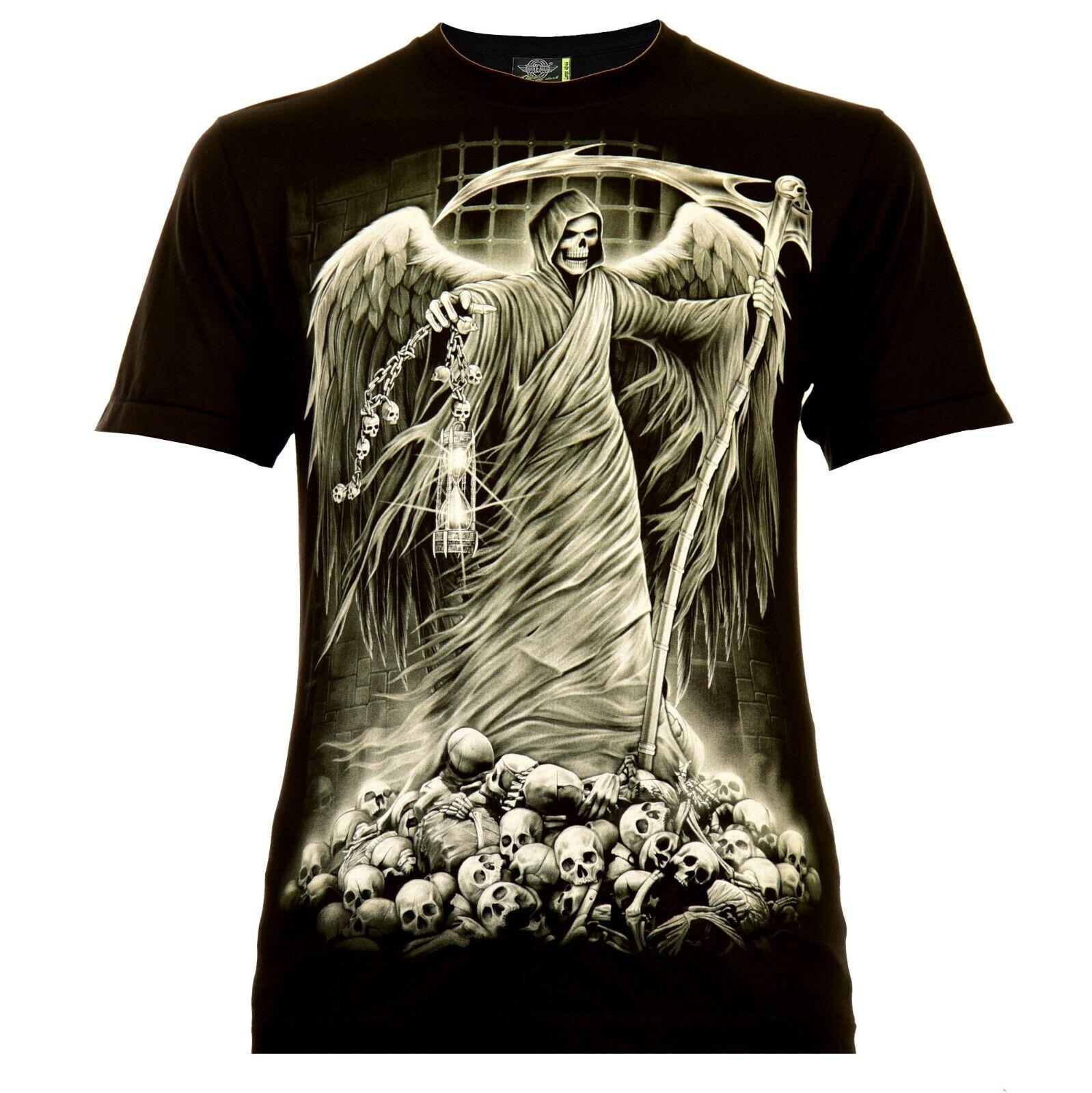 Rock Eagle Soul Reaper Herren T-Shirt Schwarz Skull Geist Ghost Totenkopf Glow