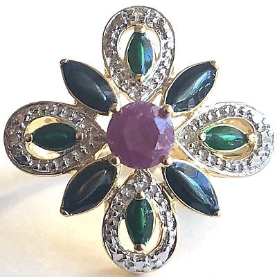 Natural Ruby Emerald Diamond Accent Ring 14K Yellow Gold Vermeil Sterling Sz 6