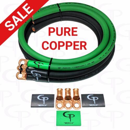 GP Car Audio Big 3 UPGRADE wiring Kit OFHC COPPER TRUE 1/0 AWG GAUGE Green Black