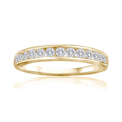 1/4 CTTW Diamond Channel Wedding Band Ring In 10K Gold By DeCarat Size: 8.5 Channel Diamond Wedding Band